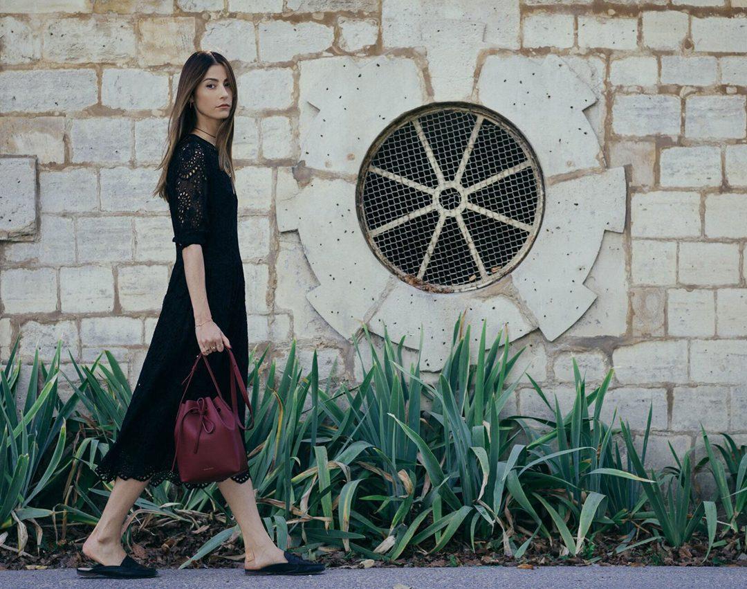 Mansur Gavriel Bucket Bag and Jadicted Lace Dress